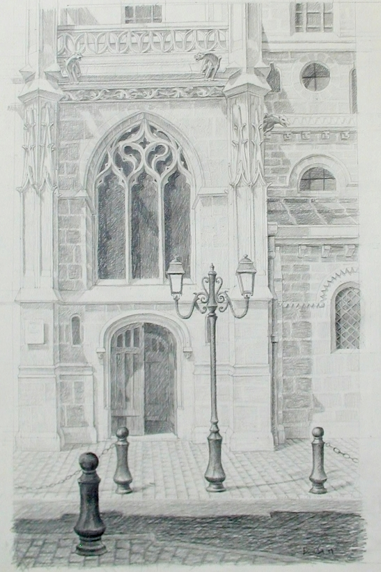 Poissy Collegiale. 16 x 24, graphite on paper