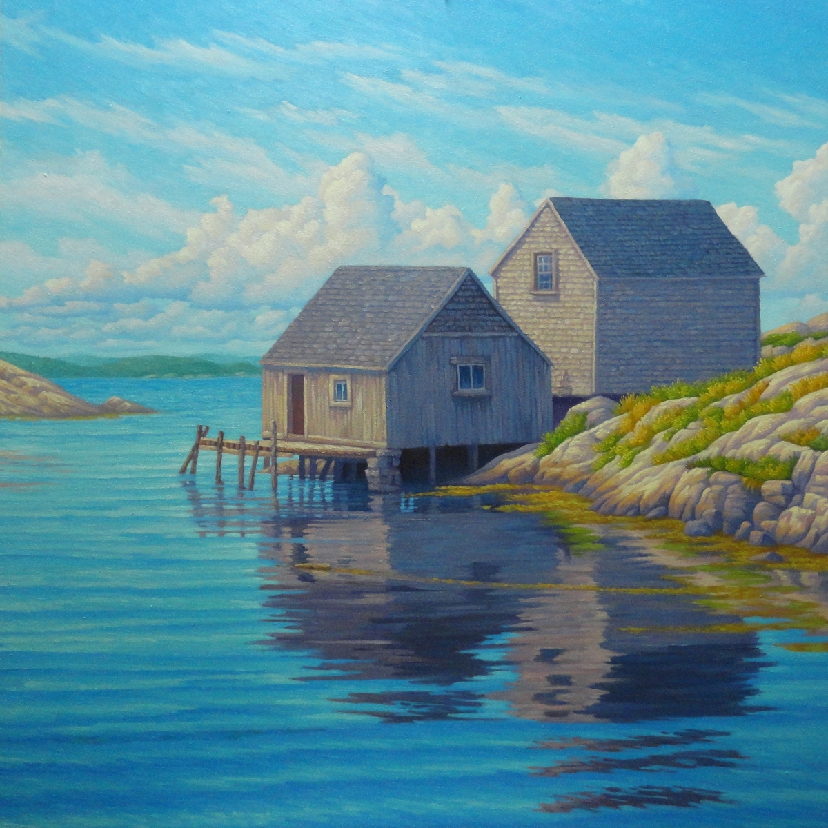 Beach House, Peggy's Cove. 36 x 36 inches, oil/canvas