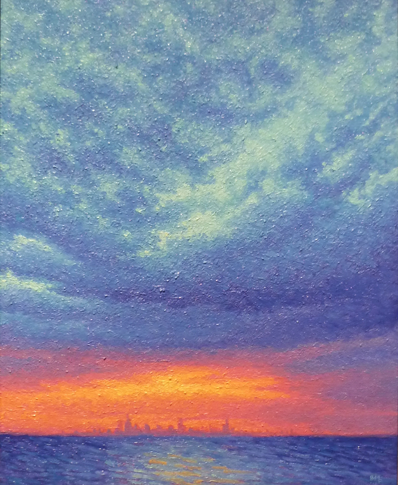 Dr.Rowley'sSunset: Chicago in the Distance. oil/canvas, 16x20 inches.