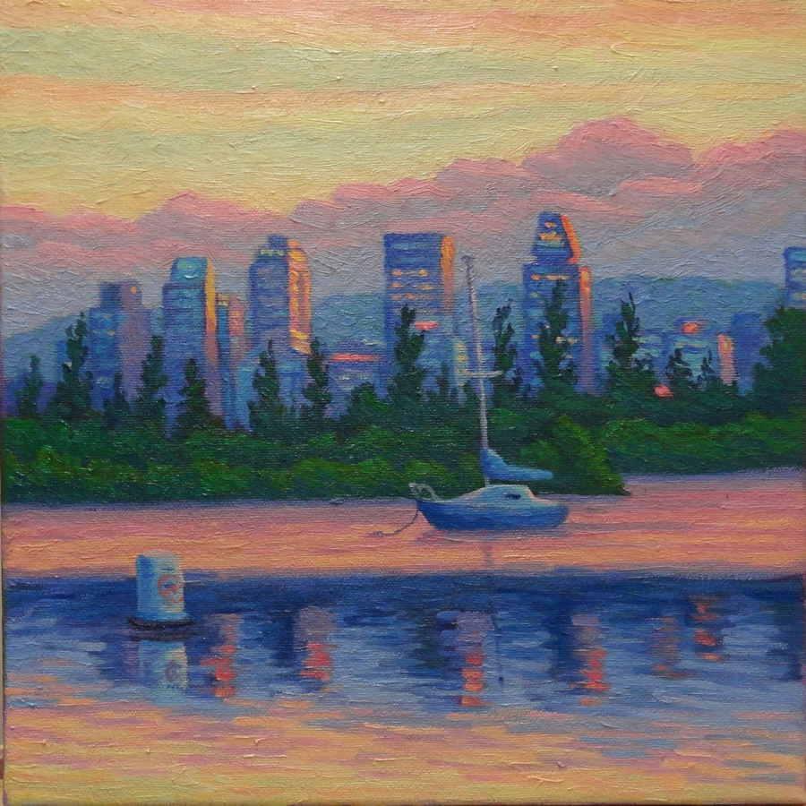 Montreal Southshore Sunset, 12 x 12 inches, oil/canvas