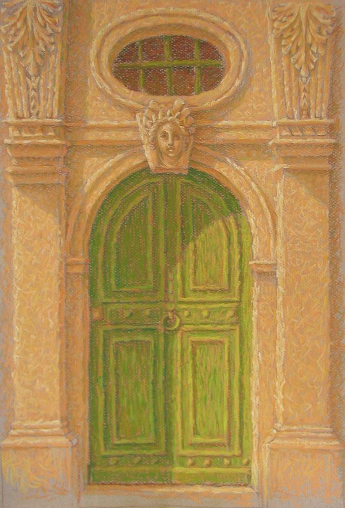 Porte de la Pucelle, Nancy,14x18 inches, pastel/paper