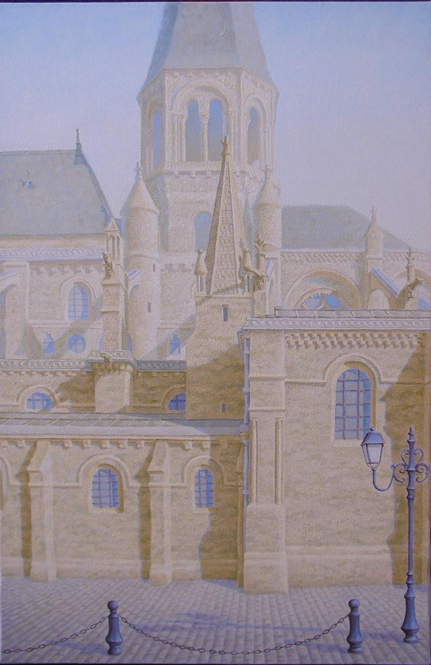 la Collegiale st. Louis, Poissy, France 20 x 30inches, oil/canvas