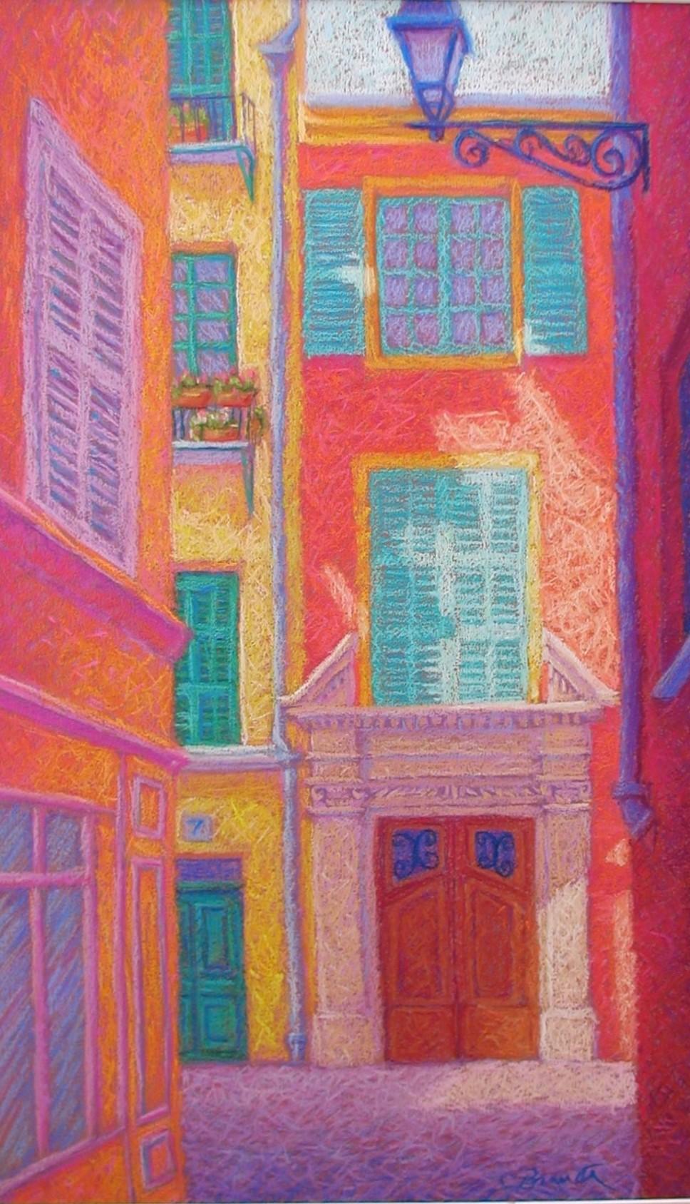 Rue de Gesu,Nice 16x26 inches,pastel/paper