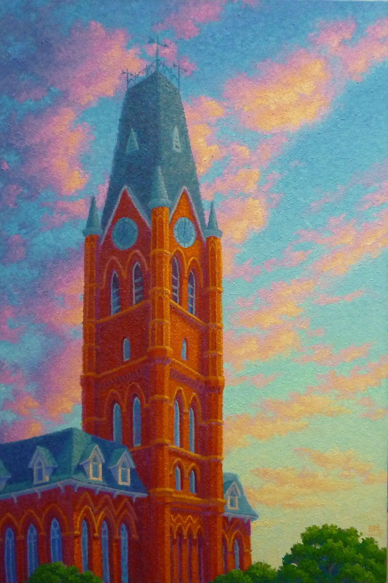''You are only a cloud'', said the clock tower. Belleville 20 x 30 inches, oil/canvas