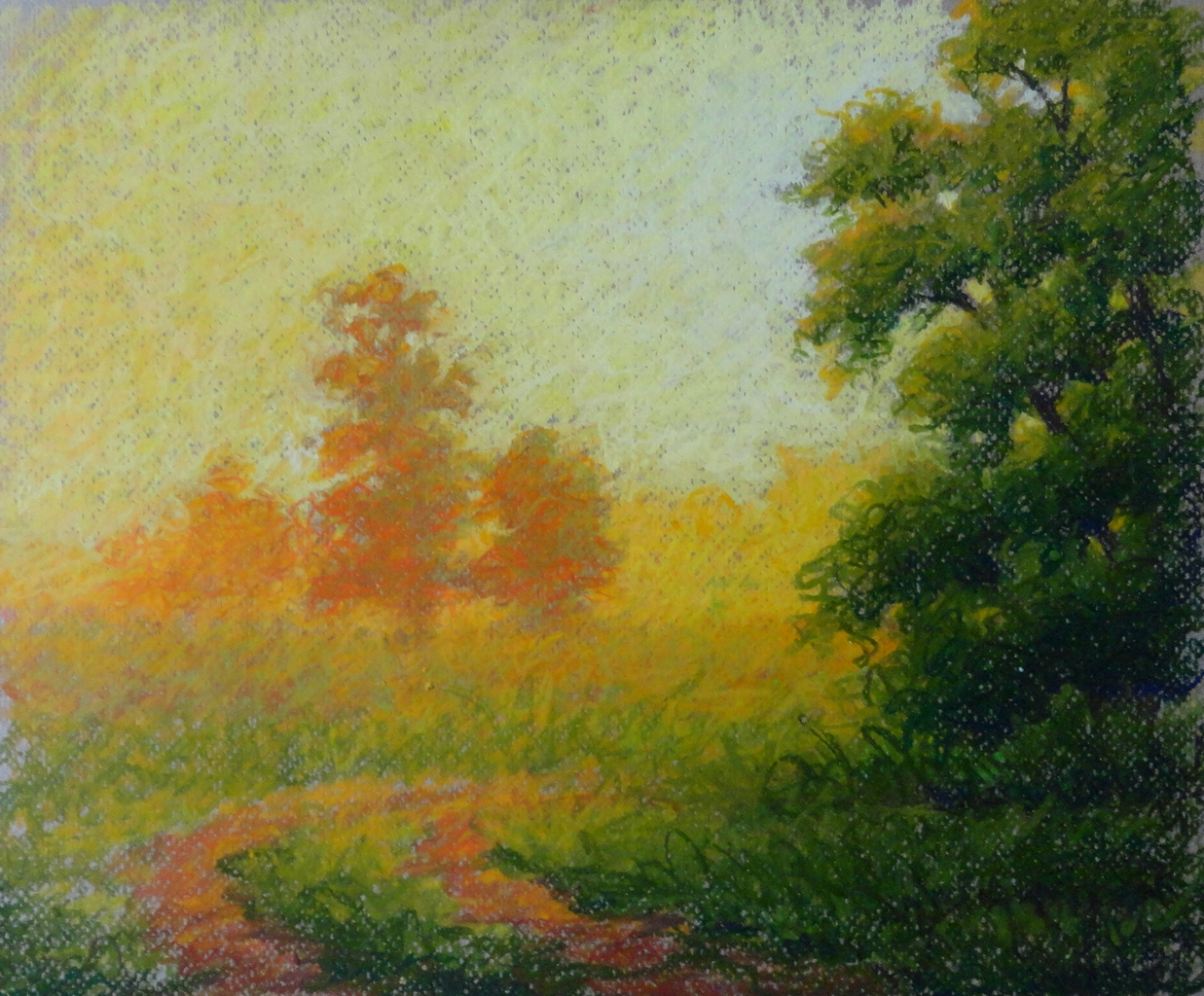 Last Light, 14x16 inches, oil pastel on paper