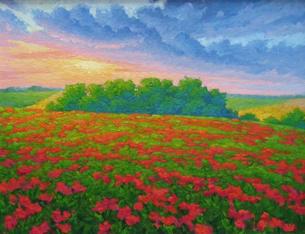 Sunset Poppy Scherzo. 14 x 18, oil/canvas