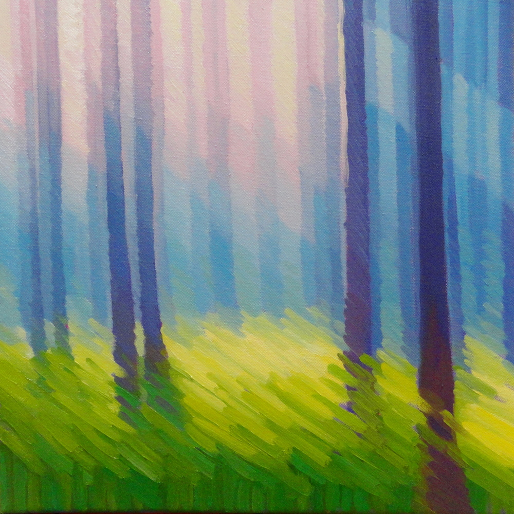 Forest Abstract. 14 x 14, oil/canvas